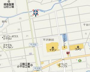 """""""おぢやからの恩返し""""プロジェクト会場の車輌センターへの地図"""