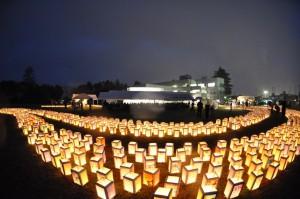 保育園、幼稚園のみなさんによる1,500個の灯篭